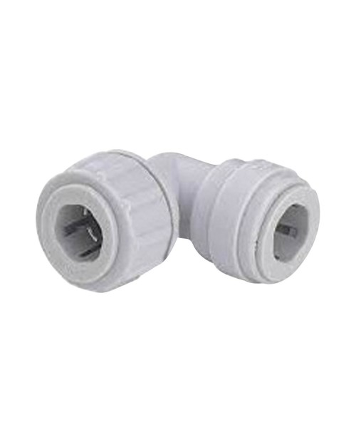 Intermediate quick connector with elbow hose – push-to-connect tube 3/8-5/16.