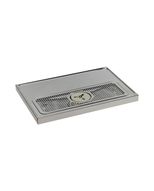Base drip tray with glass rinser and drain 500x1000x45